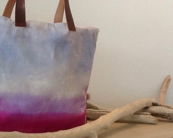 beach bag in leather and canvas