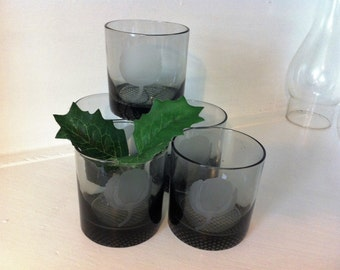 A Collection of (5) Vintage Smoke Cottonball Tumblers