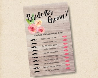 he said she said customized, bridal shower games, bride or groom game, wedding shower games, instant download bridal shower games - br61