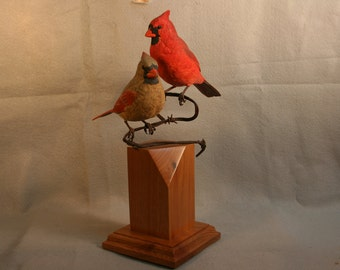 Cardinal pair woodcarving,songbirds,birds,red bird,male and female,