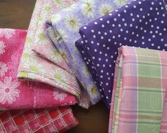 Pinks and Purple Fabric, Destash, Flower Fabric