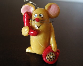 Mouse on Telephone Vintage Christmas Ornament – Rotary Phone – Hand Sculpted and Hand Painted