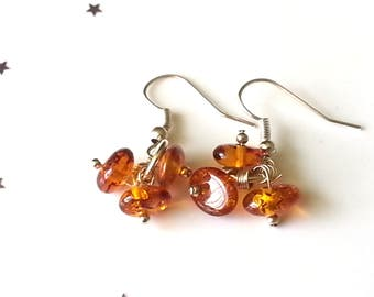 Amber earrings - amber jewellery - sterling silver earrings - gift for her