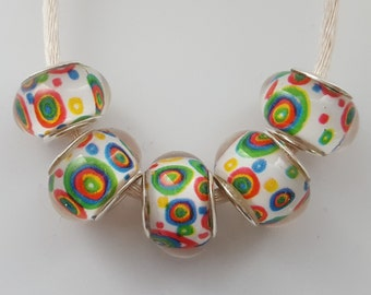 Rainbow Circle Beads X 5.  Lampwork Beads. Gay Pride Beads. Multi Colour Beads. UK Seller