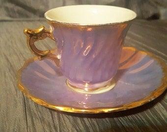 Vintage Glazed Porcelain Tea Cup and Plate