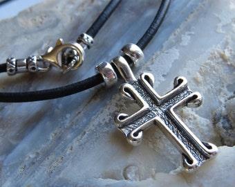 Jewelry Cross Christian Cross Sterling Silver Oxidized on Black cord.