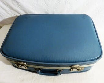 Blue Suitcase, Carry Case, 20th Century Suitcase, Travel Case, Blue Luggage, Medium Sized Overnight Case, Hardsided Luggage, Hobby Case