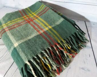 Faribo Plaid Wool Blanket, Green and Red Plaid Blanket, Genuine Faribo Bedding, Vintage Blanket, Virginian Wool Throw