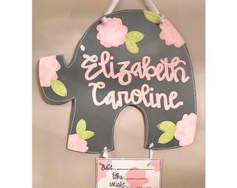 floral baby door hanger // hospital door hanger // pink + grey + ivory // elephant // nursery door hanger