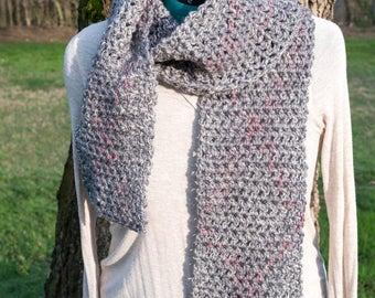 Gray & Pink Crocheted Scarf