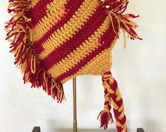 Mohawk Crochet Hat - Kids Mohawk Hat - Boys Hat - Cavaliers Hat - Child Hat - Cleveland Cavaliers Hat - Burgundy Gold Mohawk Hat