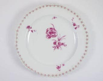 Antique 19th century Berlin porcelain TULIP reticulated plate