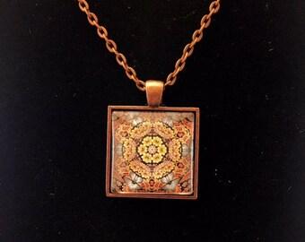 Damascus square glass pendant necklace (JPSq1-A1)