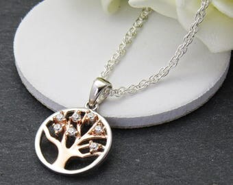 Silver tree necklace Etsy