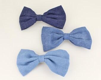 """denim chambray fabric bow barrette hair clip claw alligator clamp 4"""" wide denim blue light medium or dark blue"""