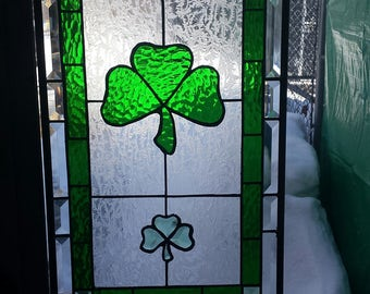 Shamrock Stained Glass Panel