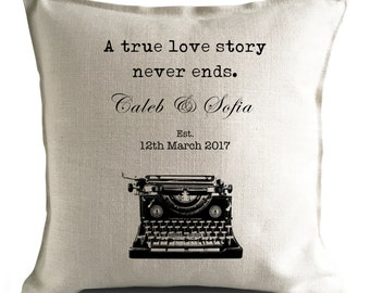 PERSONALISED Wedding anniversary Valentines Day Gift Mr and Mrs bride and groom Large Cushion Cover A True Love Story