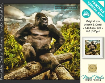 Gorilla, Mountain Gorilla, African Gorilla, Wild Nature • Animal world, Animal Art • Painted Animals Printable Digital Wall Art, Home Decor