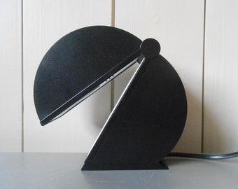 Vintage 1970s Italian Table Desk Lamp DISCO. Design by Mario Bertorelle for JM RDM design. Black Plastic. Made in Italy. Retro Mod Lighting