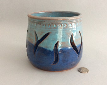 Earthenware Candle Holder in Double Blue