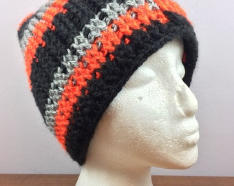 Handmade Red, Black and Grey Crochet Hat
