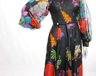 FREE US SHIPPING Gauzy Cotton Semi Sheer Floral Maxi Dress