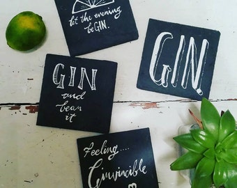 Hand painted slate 'Gin' Coasters - set of 4, packed in cute box with Gin slogans