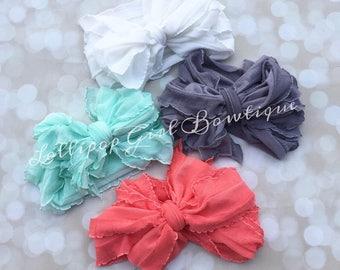 Ruffle Bow Head Wrap//Ruffle headband