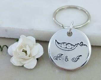 Pea Pod Keyring, Two Peas In A Pod, Peapod Key Chain, Twin Mummy Gift, Twin Mum Key Ring, Boyfriend Keyring, Gift For Him, Dad Gift