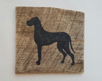 Great Dane Silhouette (Black) // Reclaimed Wood Sign