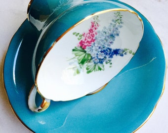 Aynsley Turquoise Corset Floral Spray Tea Cup and Saucer