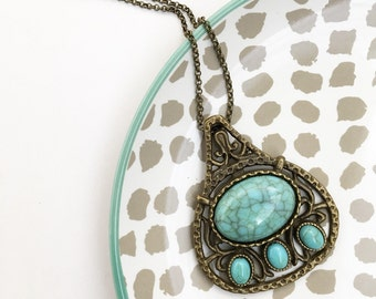 Bronze and turquoise pendant necklace, tribal, boho, bohemian, gypsy