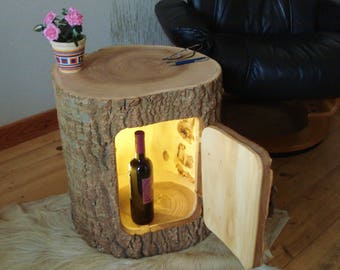 Wood table wood barrel side table from a tree trunk