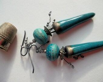 Earrings ceramic drops spikes turquoise lampworkbeads silverpyrite rustic tribal earrings niob earhooks ethnic glazed claydrops