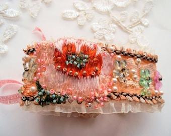 Fabric bracelet embroidered silk lace bracelet textile jewelry glass flowers mokuba floral tape handsewn silk