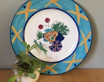 Mikasa Fashion Plate Ocean Collage pattern - large serving platter with frutas de mari design in blue yellow green & pink for tropical home!