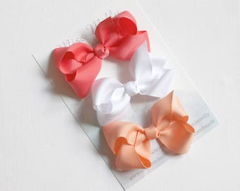 Boutique hair bow trio - Coral, White and Peach