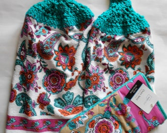 Set of 2 Teal and Pink Paisley Design Hanging Kitchen Towels with Crocheted Tops and Matching Oven Mitt