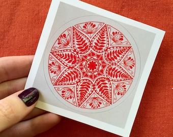 Red, Folk Art Mandala Sticker