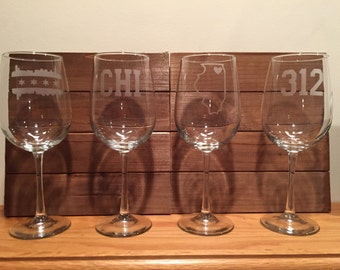 Chicago Wine Glasses - Four Etched Wine Glasses - Chicago - Windy City - Chicago Wine - Chicago Barware -Cubs - Bulls - 312 - CHI Town