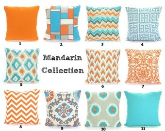 Orange Aqua Gray Pillow Covers, Cushions, Decorative Throw Pillows, Chevron, Damask, Home Decor, Geometric One or More Mix & Match All Sizes