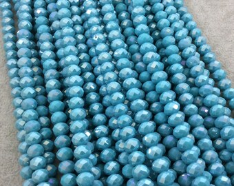 """5mm x 8mm AB Finish Faceted Opaque Light Teal Blue Chinese Crystal Rondelle Beads - Sold by 16.5"""" Strands (Approx. 71 Beads) - (CC58-81)"""