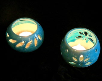 Ceramic candle holder , Wedding candle holder. turquoise home decor, ceramic Tea light. Delight, gift for her, house warming gift