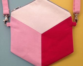 Cube / Hexagon Cross Body bag, Geometric design Handbag, pink handmade