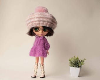 Blythe mohiar hat, Pink mohair beret for Blythe, Pink hat for doll, Blythe mohair beanie, Doll mohair clothing, Blythe knit cap, Doll outfit