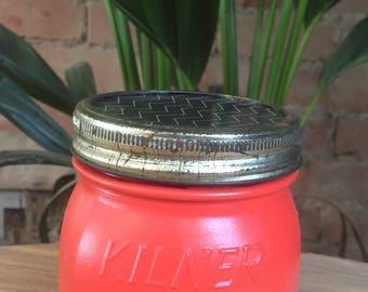 """Original Vintage Campari Orange """"Kilner"""" Glass Container/Planter/Utensil Jar with Patterned Removable Lid"""