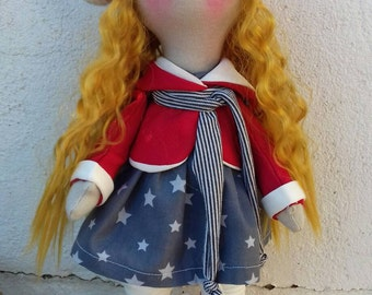 Fabric doll inside doll Rag doll art doll tilda