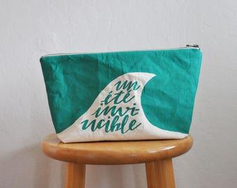 zipper bag // un ete // large // handprinted // pool teal