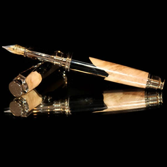 Handmade Wood and Acrylic Luxury Fountain Pen. Features gunmetal fittings, medium nib & a posted cap. #64
