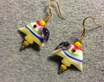 Yellow, blue, purple and red lampwork angelfish bead earrings adorned with yellow Chinese crystal beads.